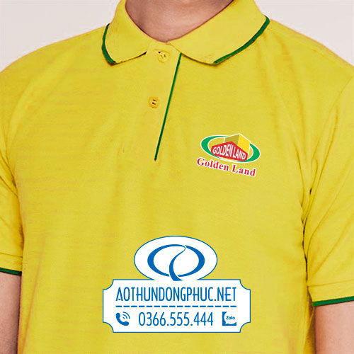 Chi tiết in áo thun đồng phục nhân viên công ty BĐS Golden Land