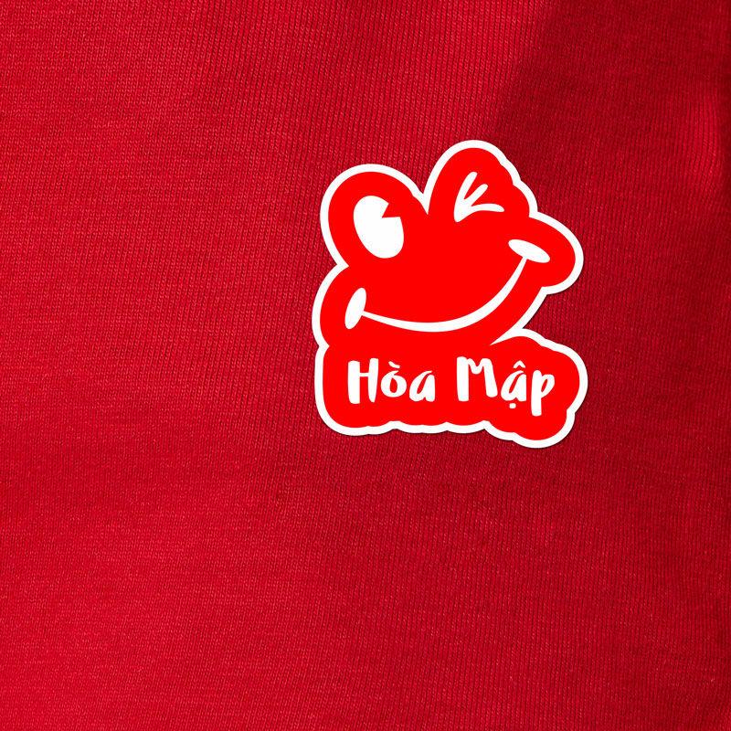 Logo in trên đồng phục áo thun nữ quán Hòa Mập