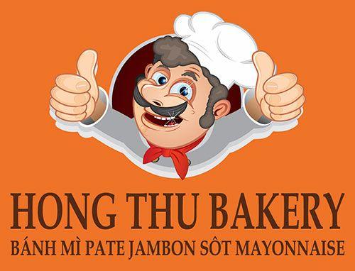 Logo in trên áo đồng phục raglan cổ bẻ tiệm bánh Hồng Thu