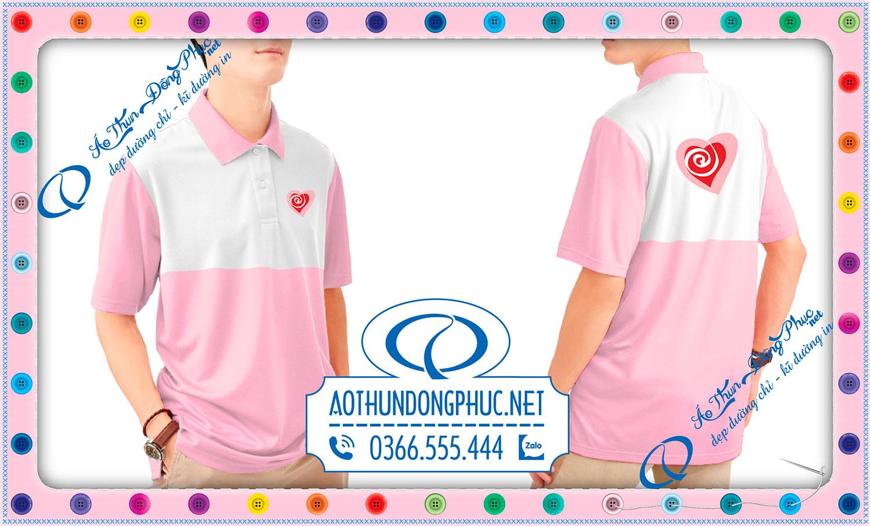 Áo đồng phục nhóm tình nguyện màu hồng lợt phối trắng