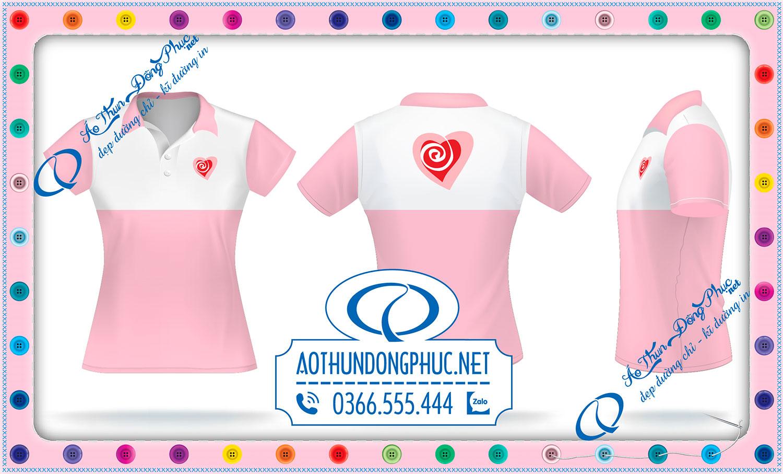 Mẫu đồng phục áo thun nữ phối màu hồng lợt và trắng