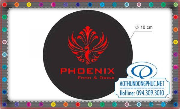 Nhận đặt may lót ly quán nước Phoenix, in thêu logo trên lót ly vải nỉ, thêu lót ly nước quán cà phê theo yêu cầu. Lót ly quán nước, lót ly quán cafe giá rẻ.