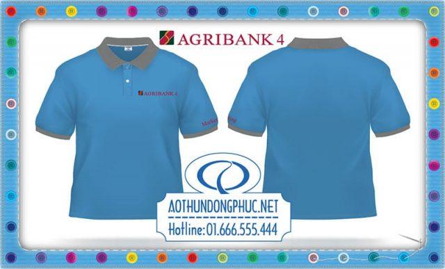 Áo đồng phục phòng marketing Agribank chi nhánh quận 4 TpHCM.Áo thun cá sấu Poly xanh da trời (xanh e) phối xám lợt.Thêu áo đồng phục thun nhân viên công ty, thêu áo thun nhân viên văn phòng