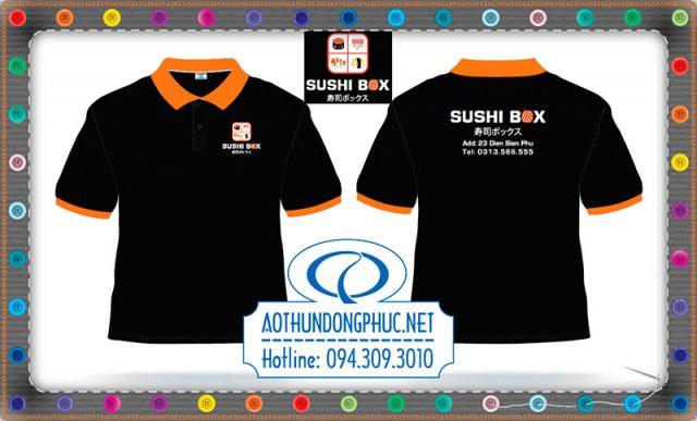 Xưởng may áo thun-đồng phục quán ăn Shushi Box.Chuyên may áo thun đồng phục nhân viên công ty, xưởng may uy tín chất lượng giá cả cạnh tranh.Xưởng may áo đồng phục giá rẻ tại TpHCM sẽ làm hài lòng bất kì khách hàng khó tính.
