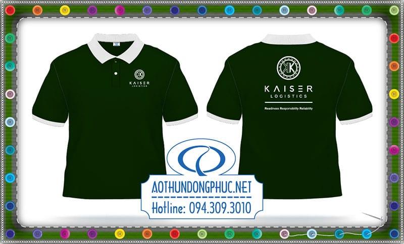 Mẫu in áo thun đồng phục công ty vận chuyển hàng hóa tàu biển KAISER-logistics.Xưởng may áo đồng phục thun, xưởng may t-shirt, xưởng may giá rẻ.Nhận may áo thun số lượng lớn, xưởng may gia công áo thun đồng phục giá rẻ tại TpHCM.Áo thun nhân viên giao nhận công ty CPN xuất nhập khẩu KAISER logistics