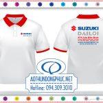 Áo đồng phục nhân viên Suzuki Áo thun nhân viên, áo thun đồng phục nhân viên công ty. Áo đồng phục thun nhân viên đại lý Head Suzuki, đồng phục áo thun nhân viên màu trắng viền cổ - tay bo màu đỏ
