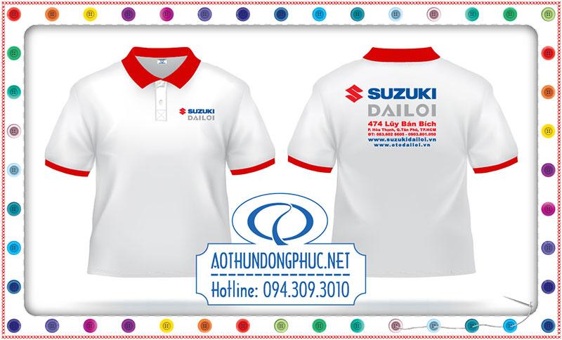 Với xưởng in may chuyên nghiệp Phục Đồng, thì việc tạo những sản phẩm chất lượng, giá trị và giá rẻ cho áo thun nhân viên, áo thun đồng phục nhân viên công ty của bạn là điều rất đơn giản và nhanh chóng.Chúng tôi nhận may, làm áo đồng phục nhân viên đại lý Head Suzuki, đồng phục áo thun nhân viên màu trắng có bo cổ - bo tay màu đỏ theo từng nhu cầu của khách hàng từ Bắc đến Nam, cả trong và ngoài nước.