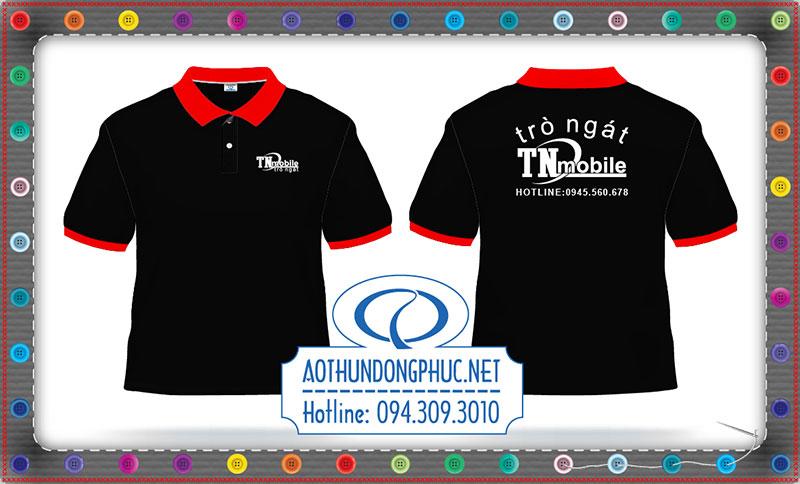 Mẫu thiết kế áo thun TN mobile Thiết kế mẫu áo thun đồng phục theo yêu cầu Mẫu áo thun Polo cổ bẻ xẻ trụ phối bo đỏ Mẫu thiết kế áo thun đồng phục doanh nghiệp In lụa áo đồng phục giá rẻ tại TpHCM