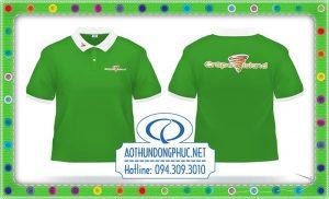 Áo thun đồng phục cổ bẻ xẻ trụ màu xanh Áo thun đồng phục nhân viên, may đồng phục áo thun phối Áo thun màu xanh, đồng phục doanh nghiệp