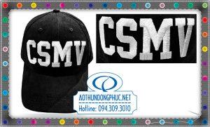 Thêu logo 3D, may mũ nón kết, mũ lưỡi trai đồng phục CSMV, nón lưỡi trai vải kaki nhung màu đen thêu logo 3D theo yêu cầu tại TpHCM.